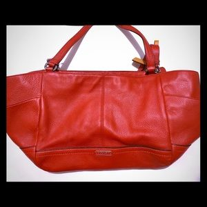 Red coach leather tote bag